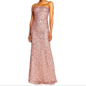 NWT Adriana Pampell Strapless Sequin Gown